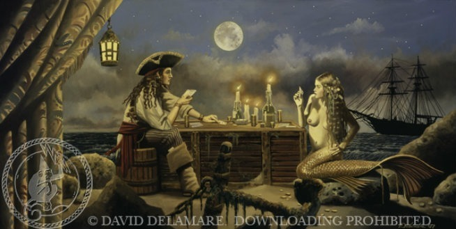 david delamare pirate mermaid bad monkey ship moon