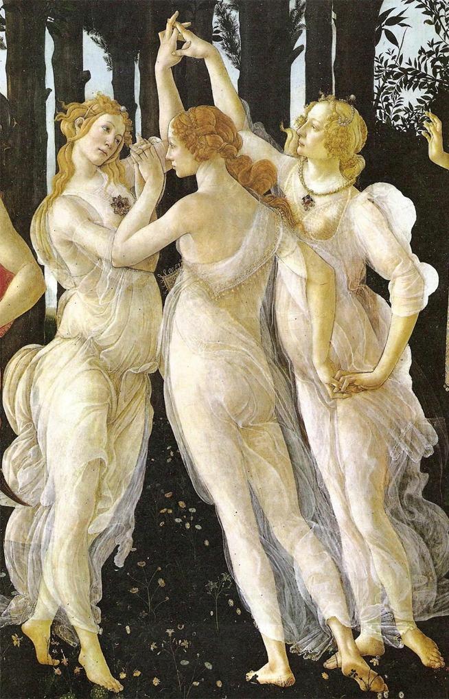 As três graças em detalhe no quadro Primavera de Botticelli
